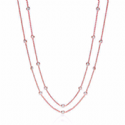 "38"" Rose Gold plated Sterling silver Cubic Zirconia J-Jaz Necklace"